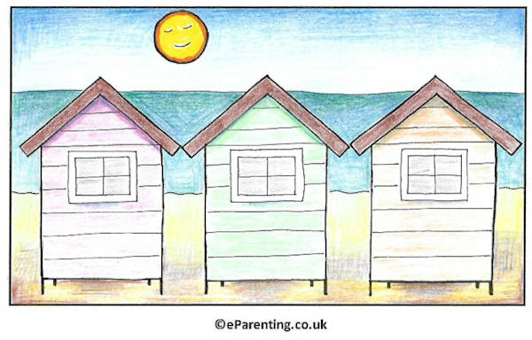 Free Printable Summer Colouring Pictures - Beach Huts