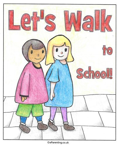 Let's Walk to School - Free Printable Colouring Poster