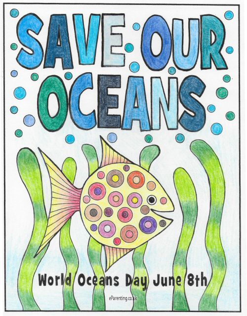 World Oceans Day - Save Our Oceans Colouring Picture