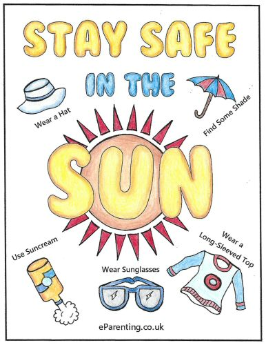 Sun Safety Colouring Picture