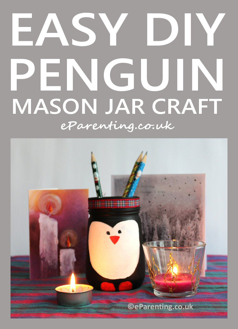 Easy Penguin Mason Jar Craft For Kids