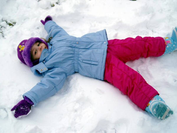 Snow Day Acticvities for Kids - Making a Snow Angel